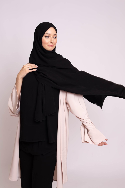 Hijab kristal noir