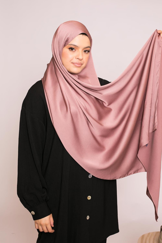 hijab sedef satiné prune marroné