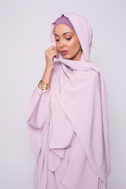 Hijab kristal lilas rosé