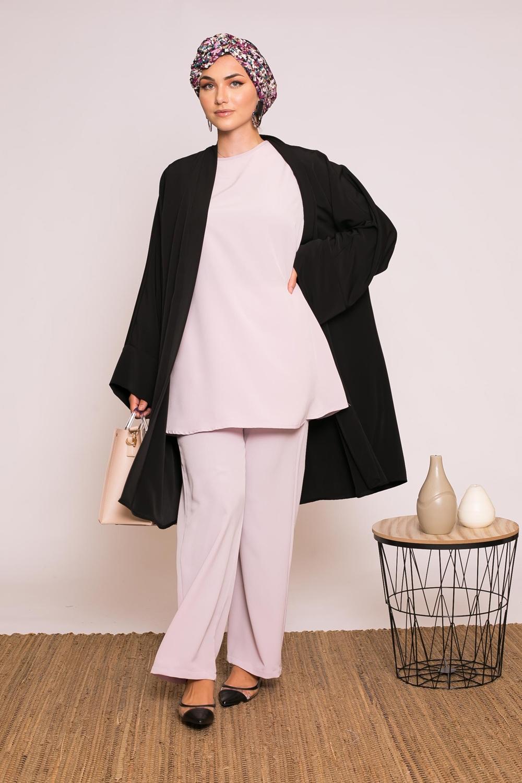 Ensemble pantalon tunique sans manche lilas rosé