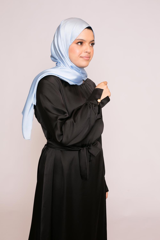 hijab sedef satiné bleu clair