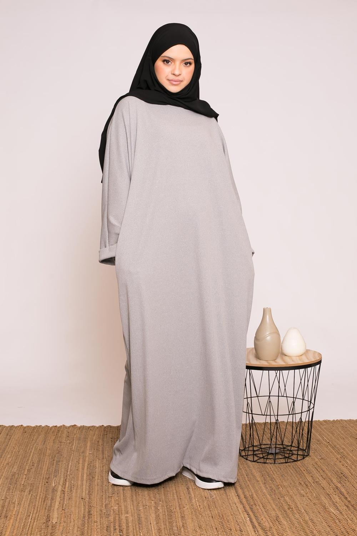 Abaya oversize grise