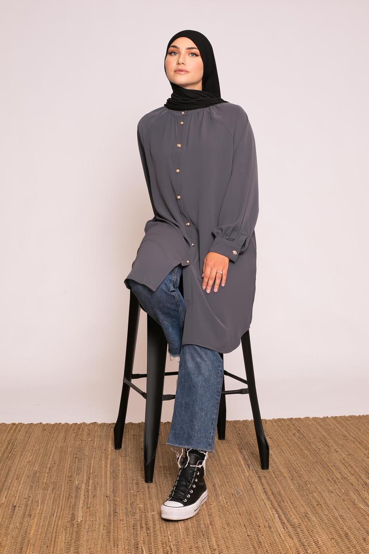 Tunique chemise gris foncé
