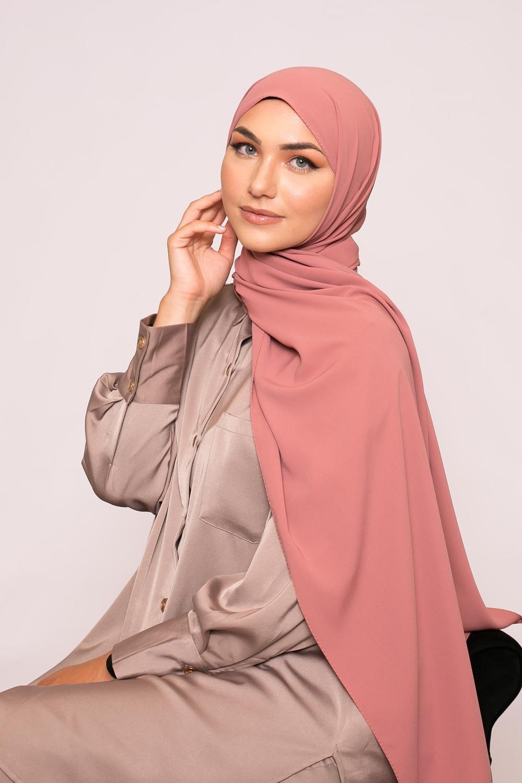 Hijab soie de médine pêche rosé