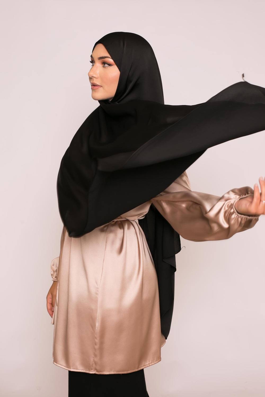 hijab sedef satiné noir