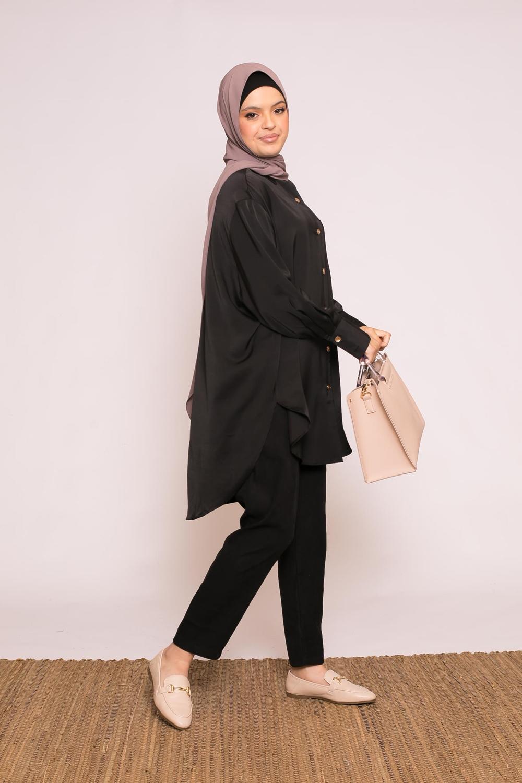 chemise luxery satiné noir