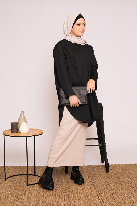 Chemise longue coton noir