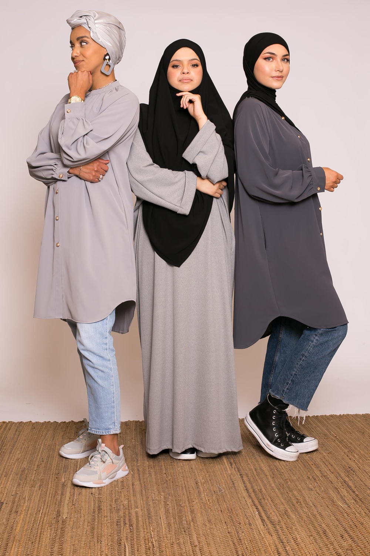 Tunique chemise gris clair