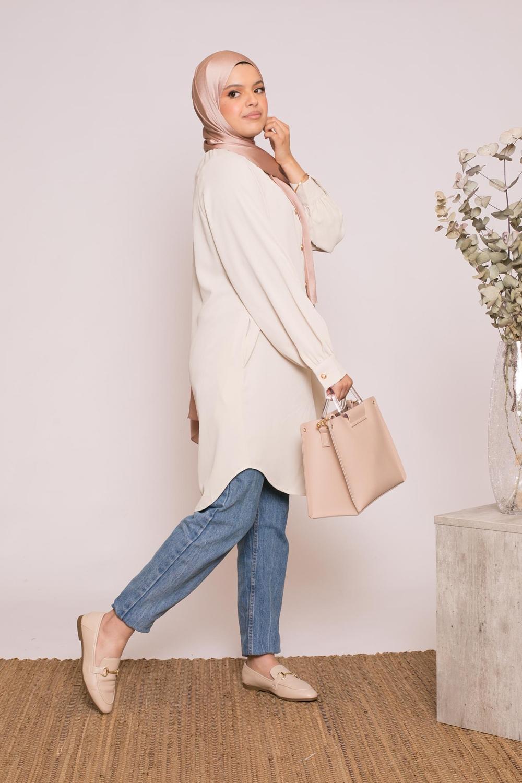 Tunique chemise beige