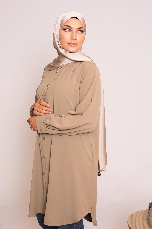 hijab sedef satiné taupe