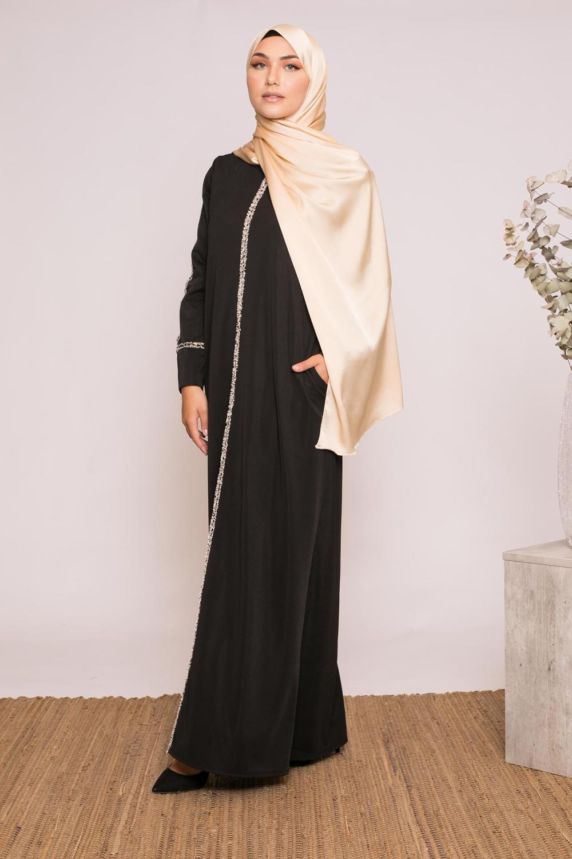 Robe abaya hiver chana noir