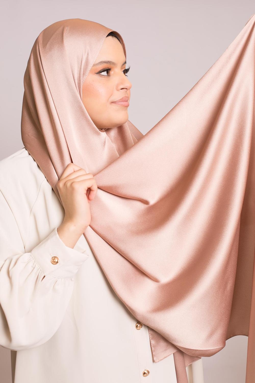 hijab sedef satiné rose marroné