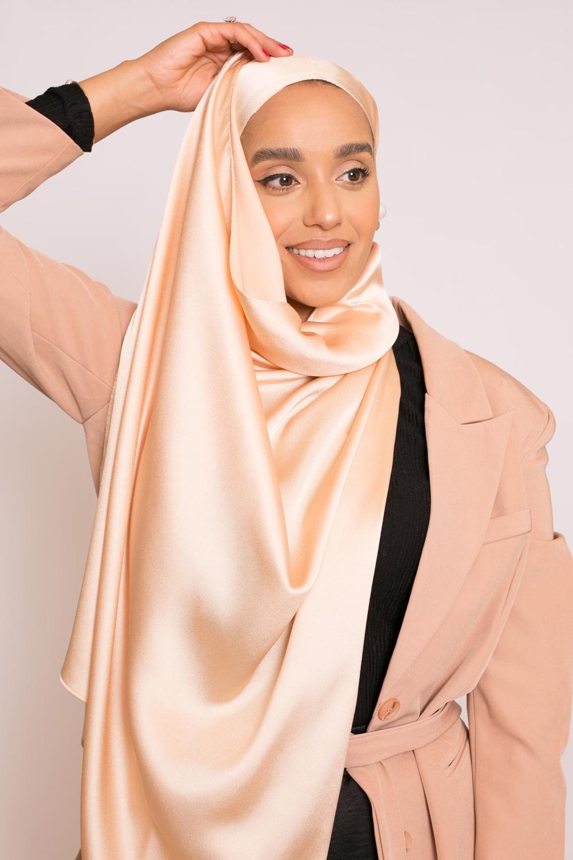 hijab sedef satiné pêche