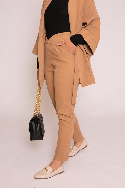 Pantalon droit taille haute beige foncé