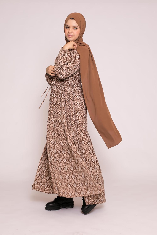 Robe évasée imprimé camel