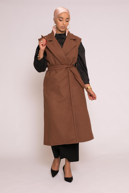 Manteau long chic sans manche cofee