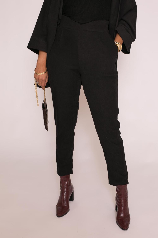 Pantalon droit taille haute noir