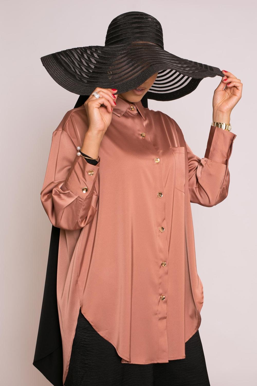 chemise luxery satiné brique rosé