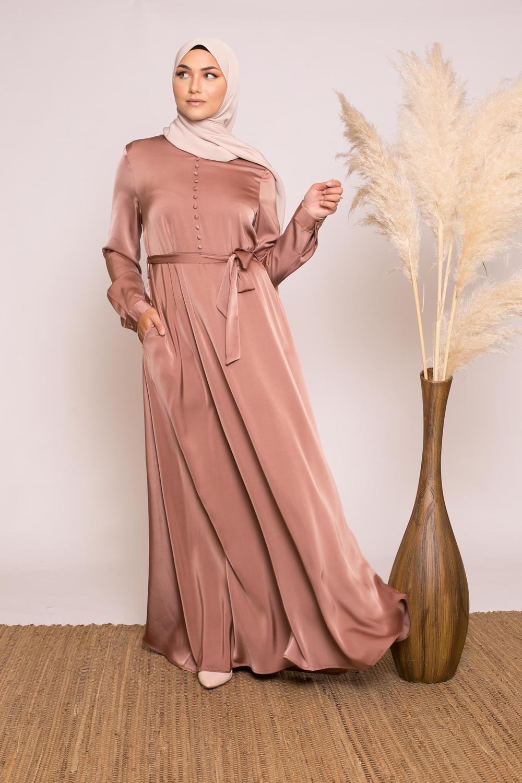 Robe amira satiné brique rosé