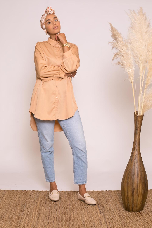 Tunique chemise large peach