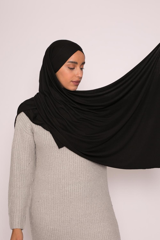 Hijab croisé jersey luxe soft prêt à nouer noir
