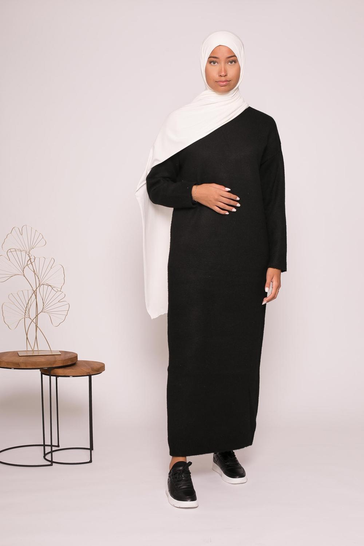 Robe pull col montant noir