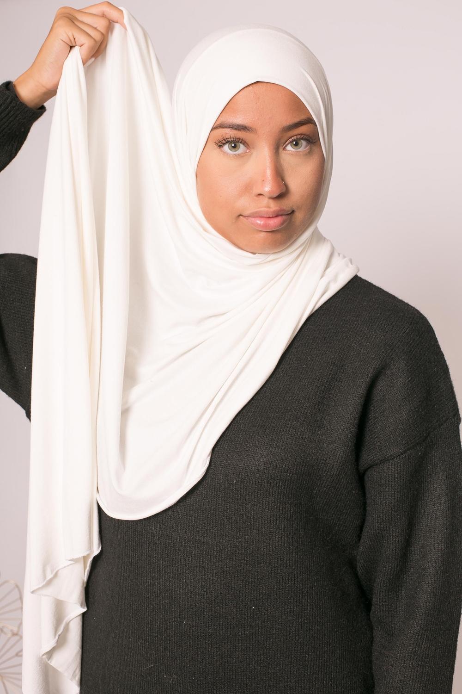 Hijab jersey lux soft blanc cassé