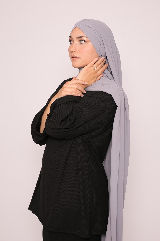 Hijab croisé à nouer soie de médine gris