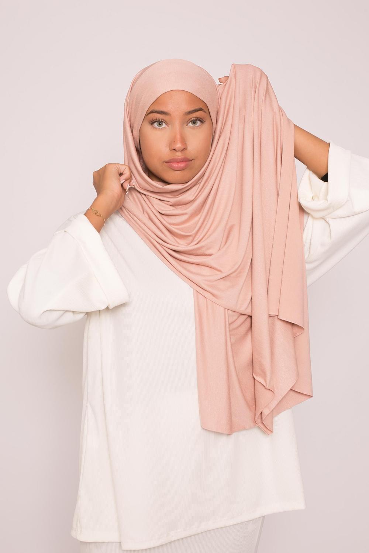 Hijab jersey luxe soft prêt à nouer nude rosé