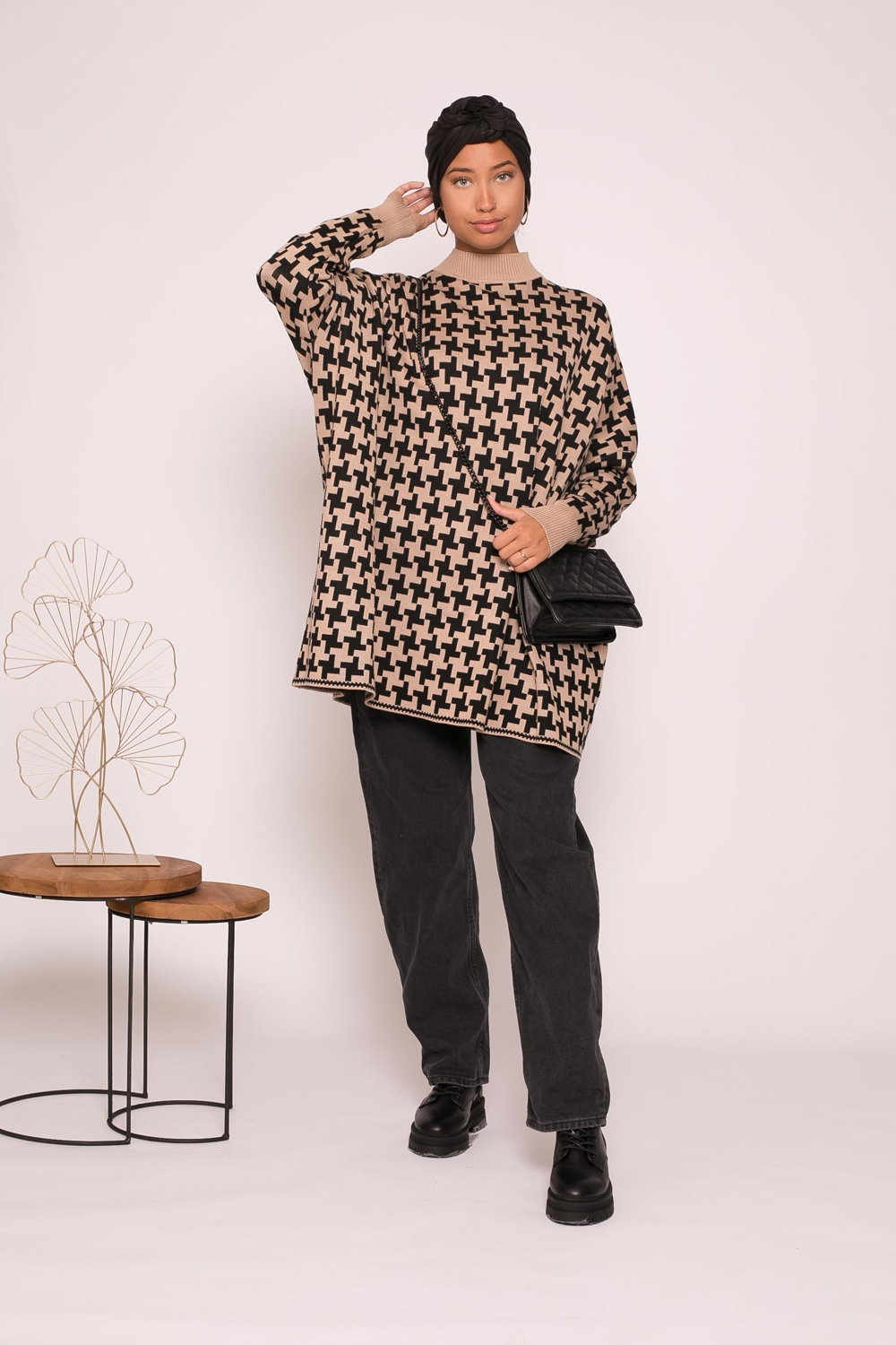 Pull oversize motif taupe