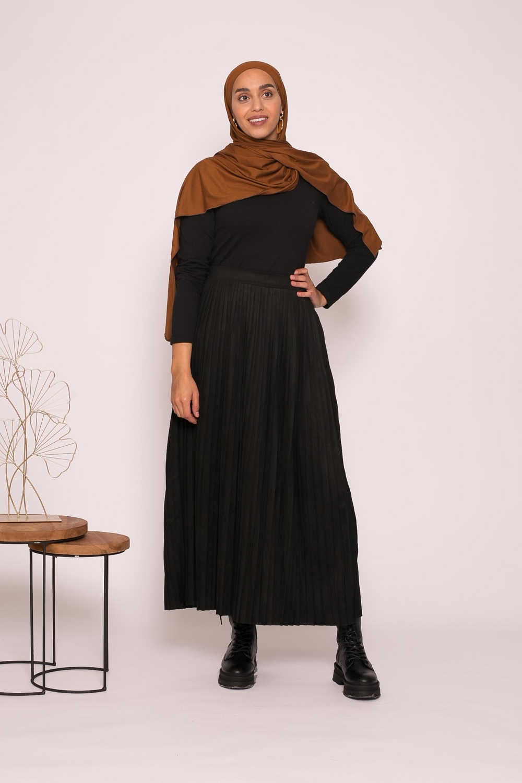 Jupe plissé simili daim noir