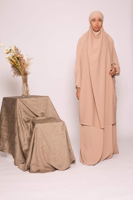 Jilbab 2pièces beige foncé