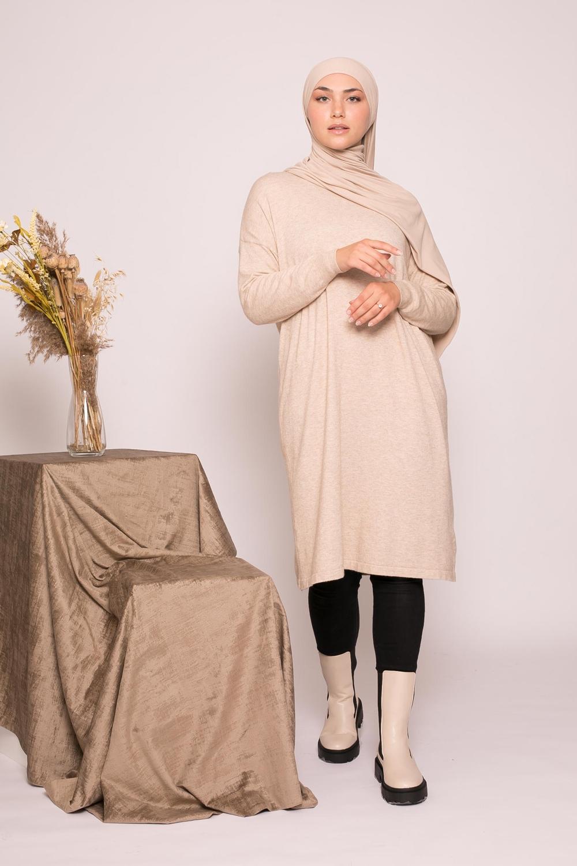 Pull tunique beige