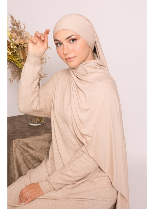 Hijab jersey luxe soft prêt à nouer taupe clair