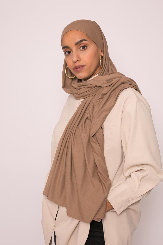 Hijab jersey lux soft taupe foncé