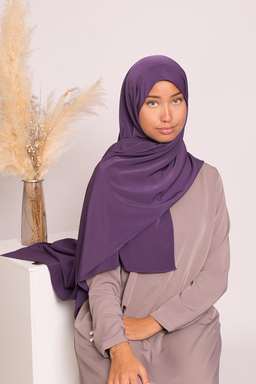 Hijab kristal purple
