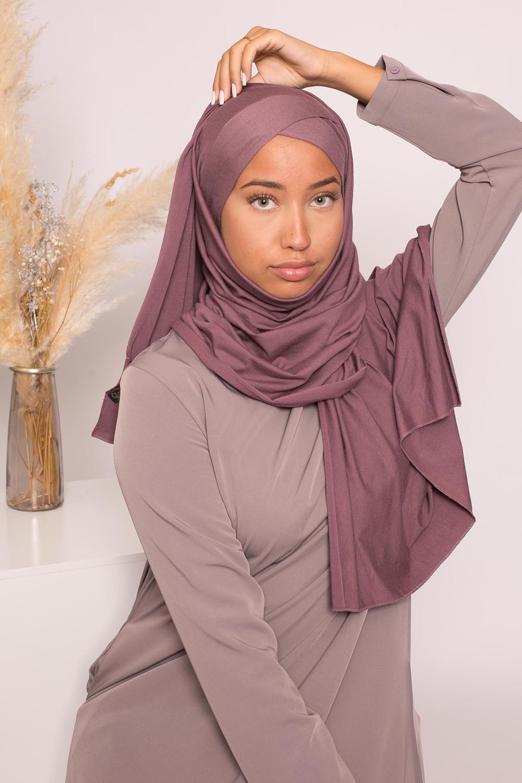 Hijab croisé jersey luxe soft prêt à nouer prune