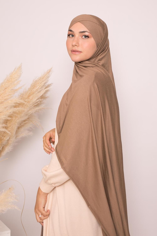 Hijab croisé jersey luxe soft prêt à nouer taupe foncé
