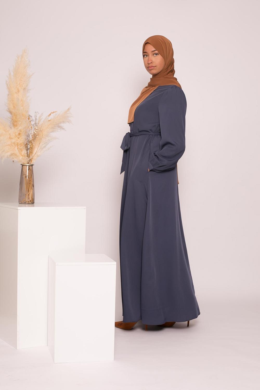 Robe longue évasée bleu foncé