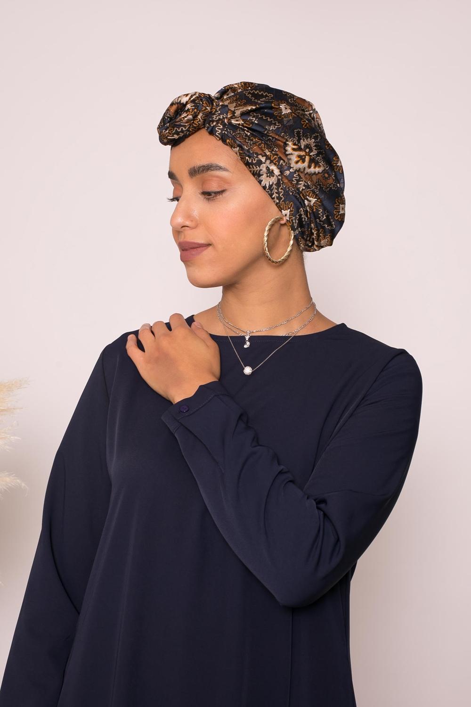 Turban à nouer imprimé bleu et camel