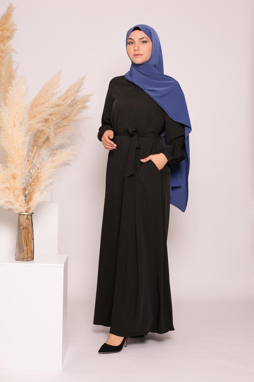 Robe longue évasée noir