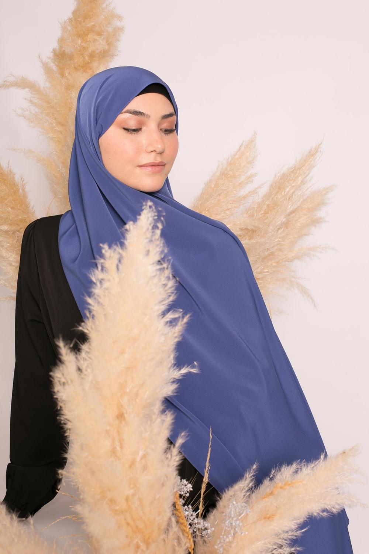 Hijab kristal bleu acier