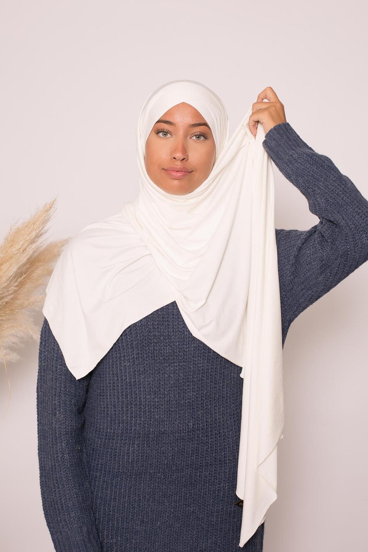 Hijab croisé jersey luxe soft prêt à nouer blanc cassé