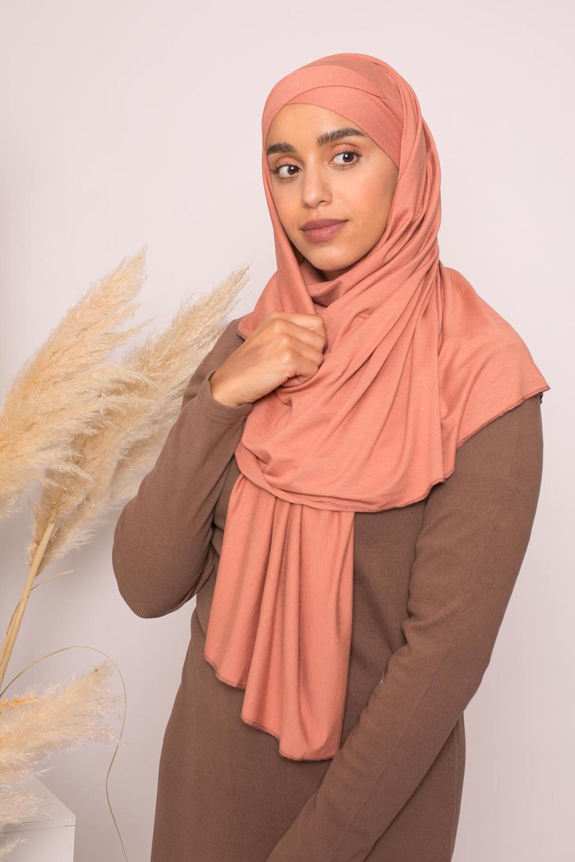 Hijab croisé jersey luxe soft prêt à nouer pêche