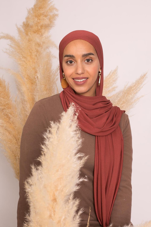 Hijab jersey lux soft brique foncé