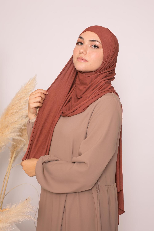 Hijab jersey lux soft brique marroné