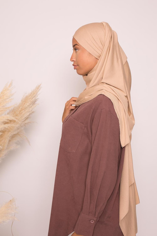 Hijab jersey lux soft beige foncé