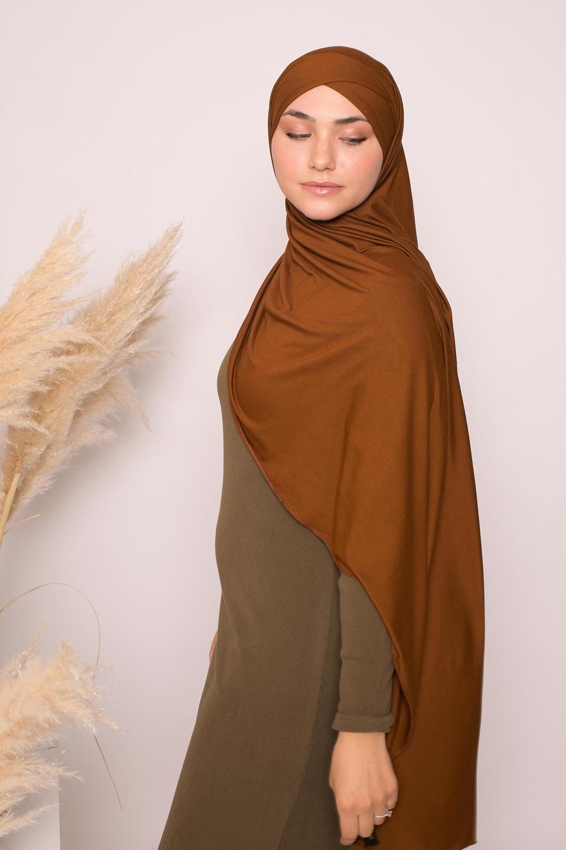 Hijab croisé jersey luxe soft prêt à nouer moka