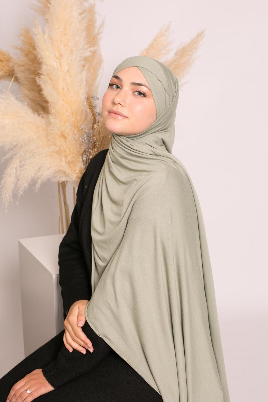 Hijab croisé jersey luxe soft prêt à nouer vert pastel