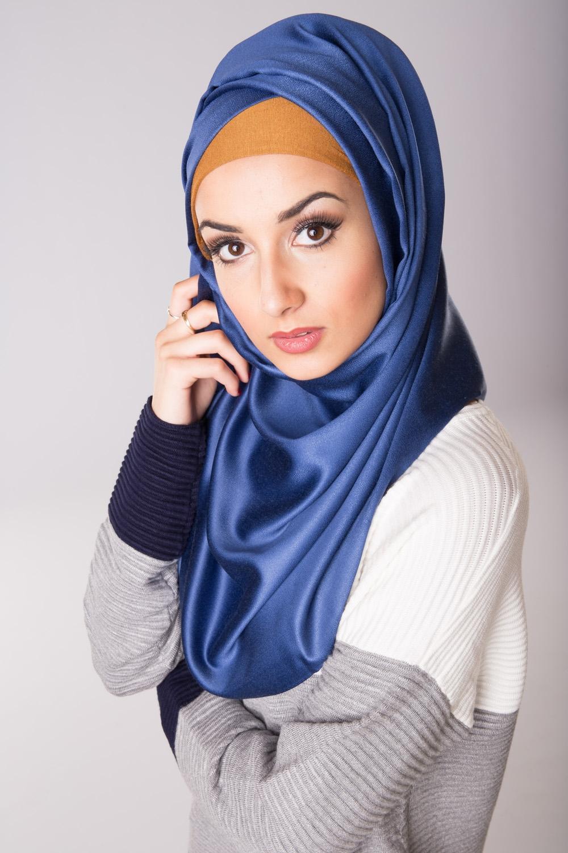 Foulard de soie bleu